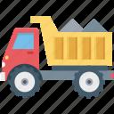 construction, dump truck, transport, truck, vehicle