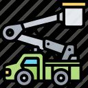 bucket, truck, lift, crane, hydraulic