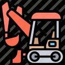 compact, excavator, backhoe, tractor, construction