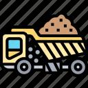 dump, truck, construction, load, transportation