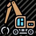 grabbing, crane, clamp, heavy, machinery