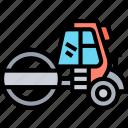 steamroller, compactor, pavement, roadwork, construction