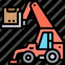 telehandler, loader, truck, lift, warehouse
