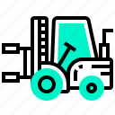 car, clamp, forklift, roll, transport, transportation, vehicle icon