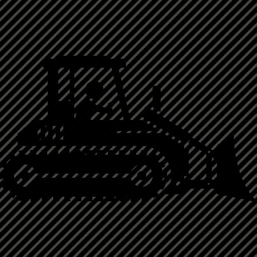 bulldozer, construction, vehicles icon