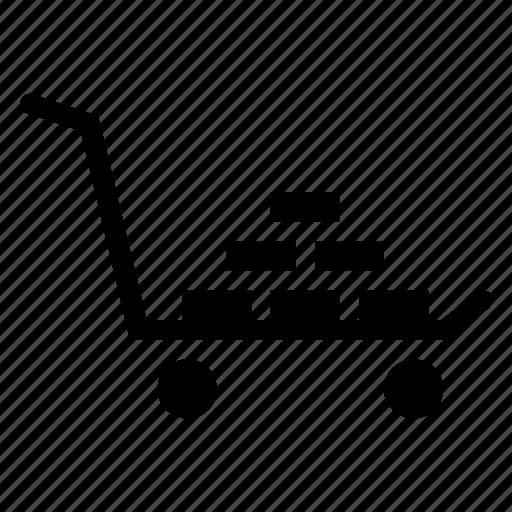 basket, bricks, shop, trolley, truck icon