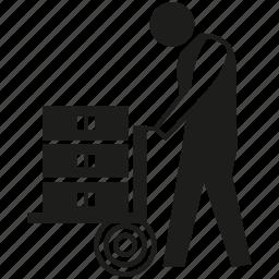 builder, cart, construction worker, handyman, labor, people, worker icon