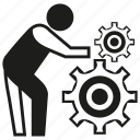 builder, construction worker, gear, handyman, labor, people, worker icon