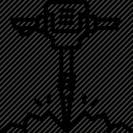 breaker, demolishing, dig, drilling, heavy, jackhammer, tool icon