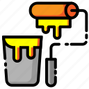 brush, color, construction, paint, paint brush, painting, roller icon