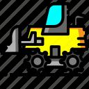bulldozer, construction, equipment, excavator, repair, transportation, vehicle
