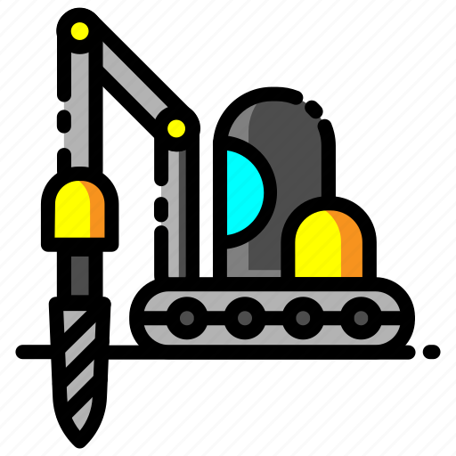 Construction, drill, heavy equipment, machine, technology, vehicle icon - Download on Iconfinder