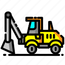 backhoe loader, car, construction, equipment, heavy equipment, loader, vehicle icon