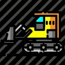 building, bulldozer, construction, heavy equipment, machine, vehicle icon