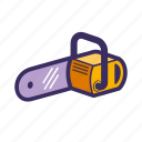 building, chainsaw, construction, cut, tool icon