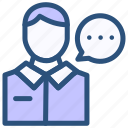contact, customer, male, service, talking icon
