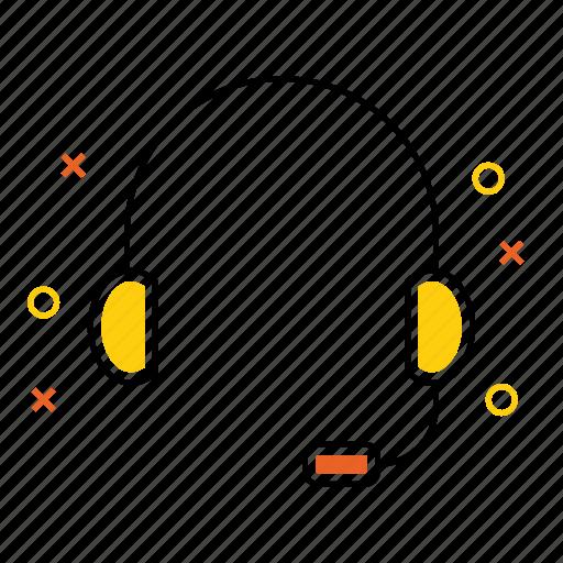 communication, device, head, headphone, phone icon