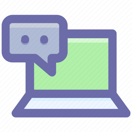 chat, chatting, computer, laptop, message, notebook, sms icon