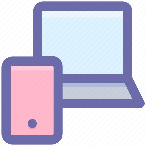 computer, connection, laptop, mobile, mobile and laptop, screen icon