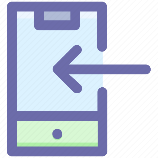 arrow, left, left arrow, mobile left arrow, mobile phone, smartphone icon