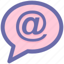 at, at sign, chat, comment, message, sms, text icon