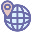 direction, globe, location, map pin, pin, world, world map