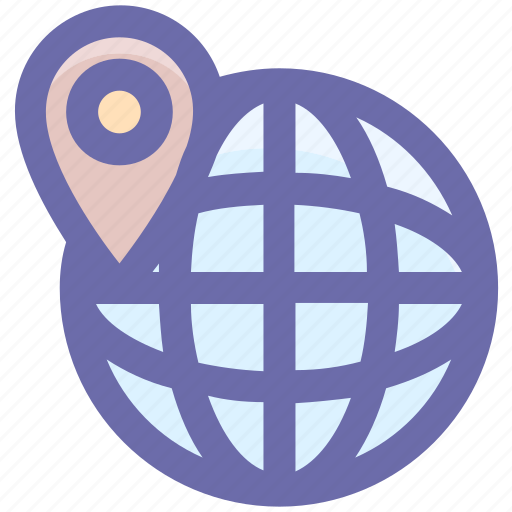direction, globe, location, map pin, pin, world, world map icon