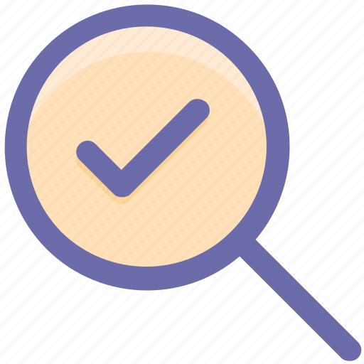 check, find, magnifier, search, sure, tick, verified icon