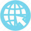 arrow, circle, earth, global, map, world, world globe icon