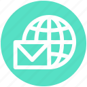 email, envelope, globe, mail, mailing, message, world icon