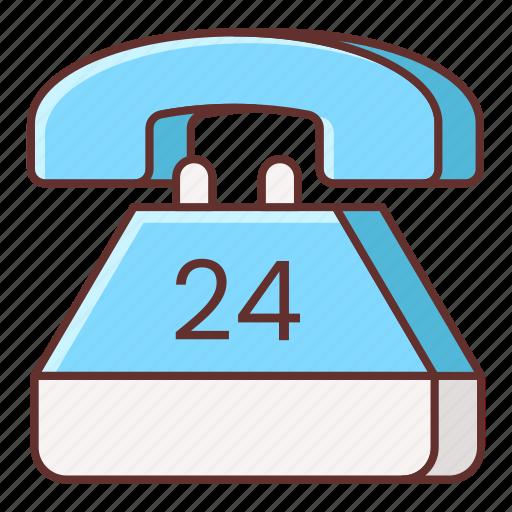 24 hours, hotline, hours, landline icon