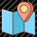 brochure, gps, location, map