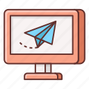 deliver, delivered, email, paper plane, send, sending icon