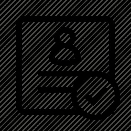 checked, document, person, profile, ui, user icon