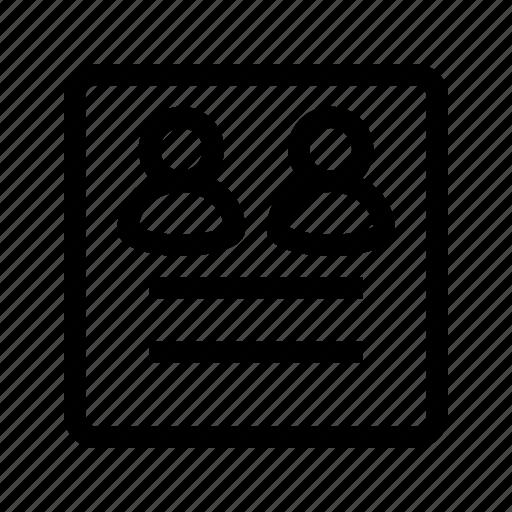 document, group, profile, ui, user icon