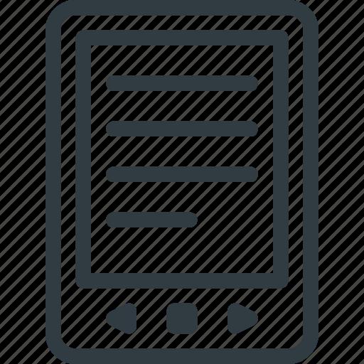 book, content, e, ebook, readind, tablet icon