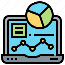 computer, graph, information, laptop, result
