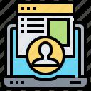 engagement, laptop, profile, report, user