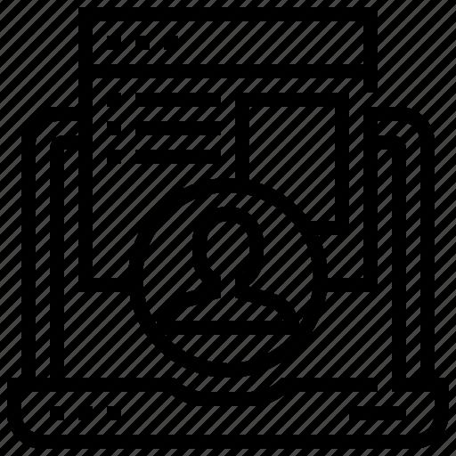 engagement, laptop, profile, report, user icon