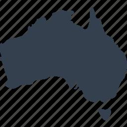 australia, australian, continent, geography, location, map, world icon