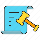 agreement, contract, document, gavel, justice, law icon