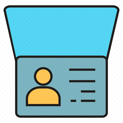 card, document, id, passport, profile, visa icon