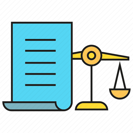 agreement, balance scale, contract, document, file, justice, paper icon