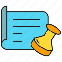 agreement, approve, contract, document, paper, pass, stamp icon