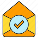 check, email, envelope, letter, mail, pass, tick icon