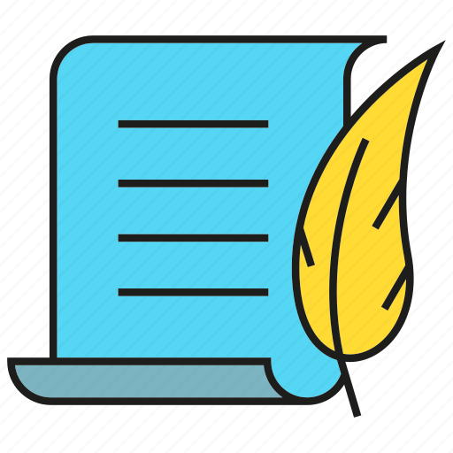 agreement, author, contract, document, feather, paper, writer icon