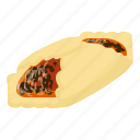 bagel, bread, cheesecake, cupcake, isometric, logo, object