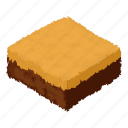 biscuit, cheesecake, delicious, filled, isometric, logo, object