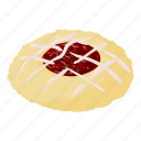 biscuit, cheesecake, delicious, isometric, logo, object, raspberry