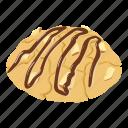 cheesecake, delicious, isometric, jam, logo, nut, object